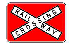 Railway Crossing (R6-25) sign with red background to increase conspicuity.